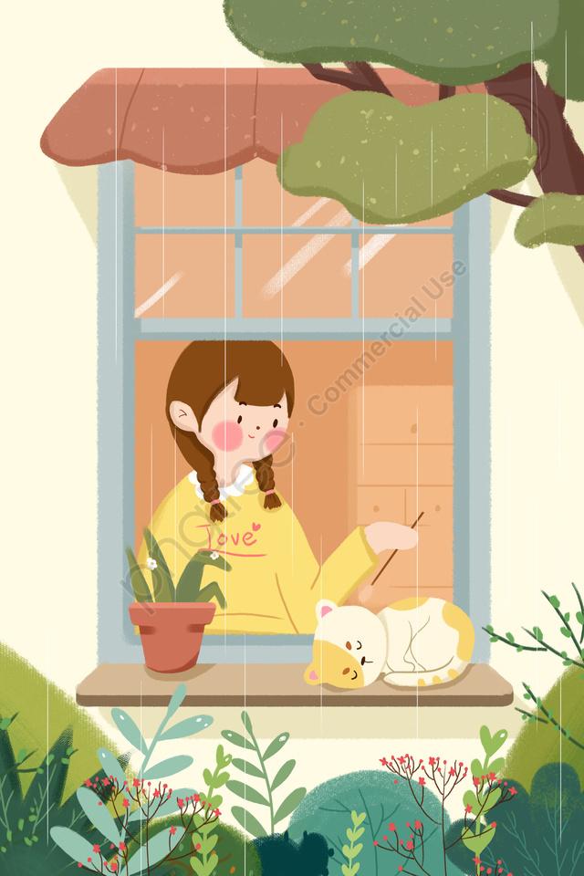 春雨少女猫の窓, グリーン, イラスト, 春雨 llustration image