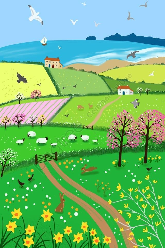весенний сельский пляжный пейзаж, животное, весной, в сельских районах llustration image