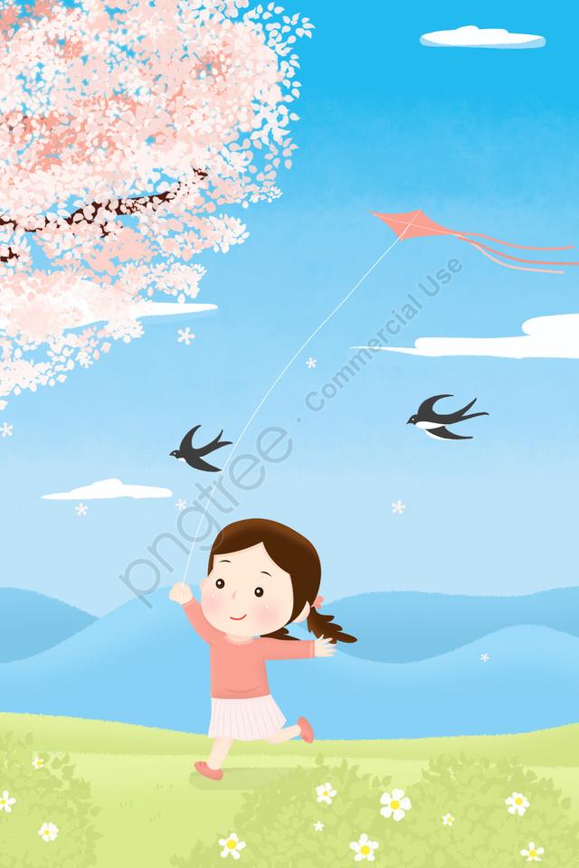春のソーラー用語ホラー春の初め, カイト, ツバメ, 桃の花 llustration image