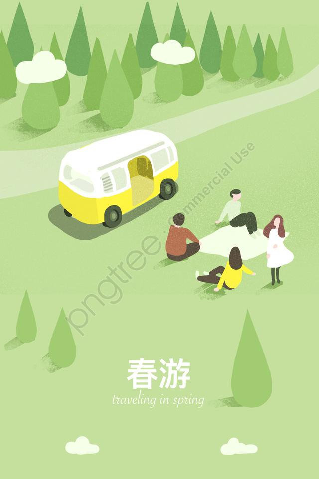 소풍에 봄 봄 투어 단계, 차, 소풍, 삼림 llustration image
