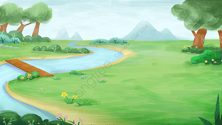 春天踩草地, 小河, 手繪樣式, 春天 llustration image