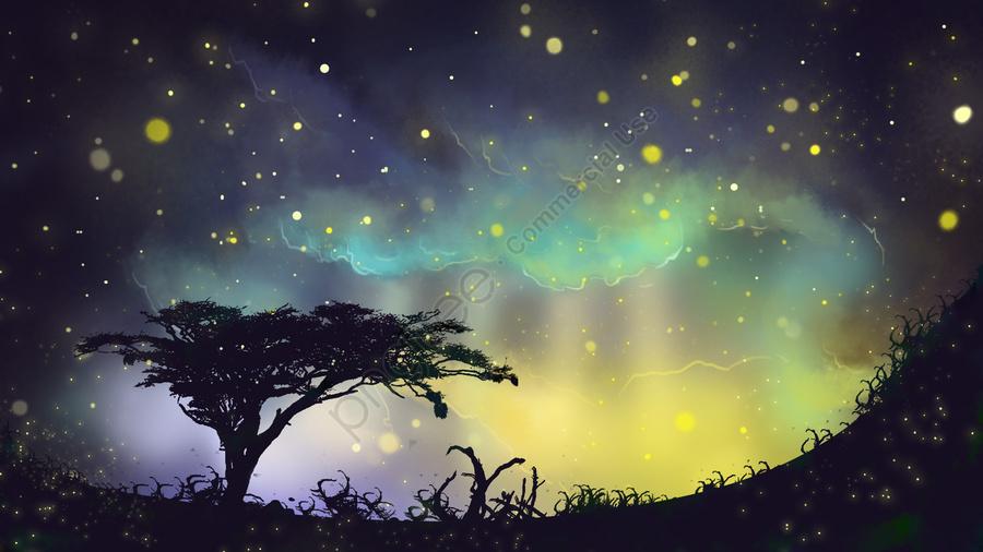 별빛 별 나무 목초지, 밤 하늘, 구름, 별빛 llustration image