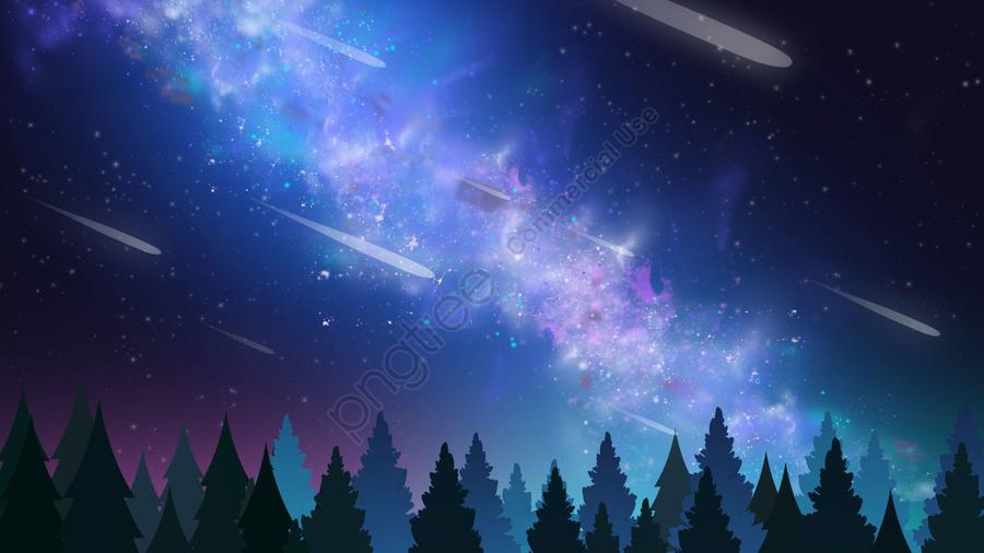 Latar Belakang Hutan Berbintang Langit Biru, Langit Malam, Langit Berbintang, Biru llustration image