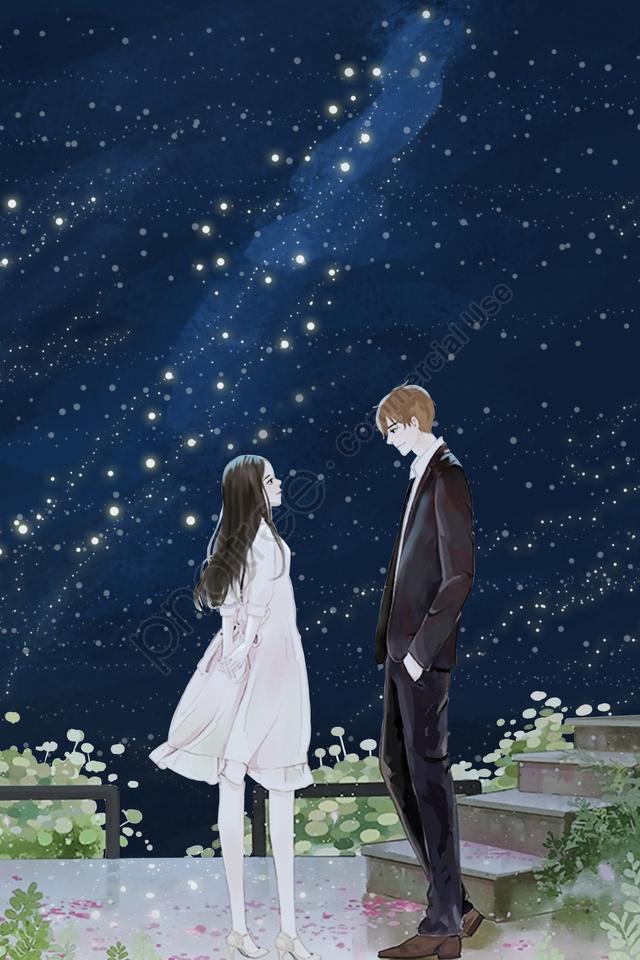 星空カップル手描きの新鮮な, 星空, カップル, 手塗り llustration image