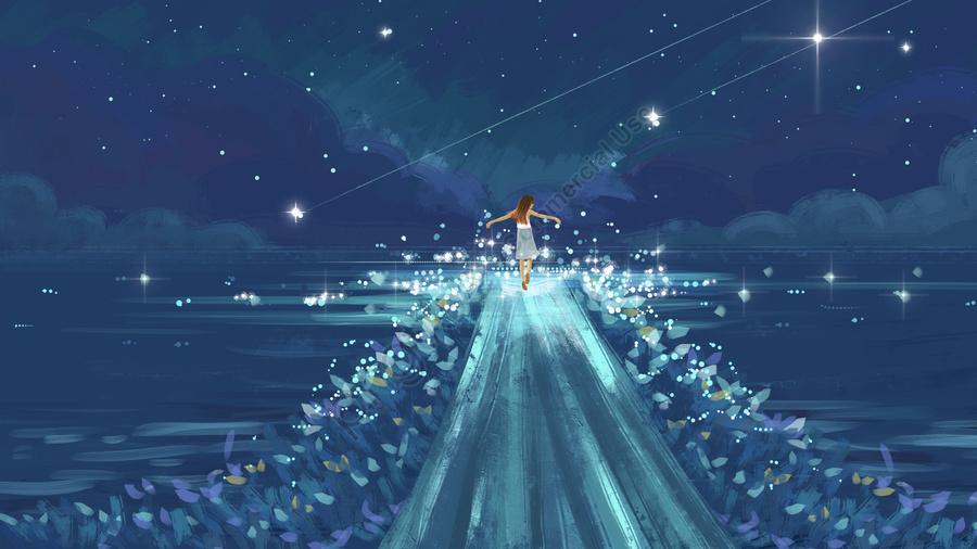 星空治癒美しい, ガール, 湖面, 星空の背景 llustration image