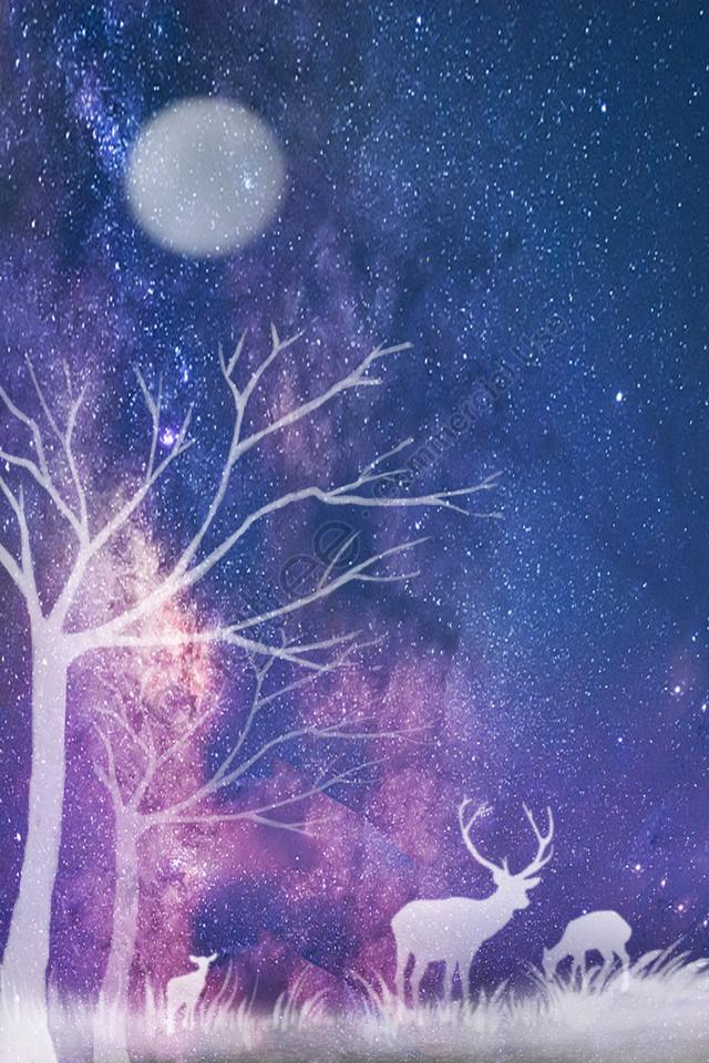 Céu Estrelado Alce Floresta Grama, Linda, Ilustração, Fresco llustration image