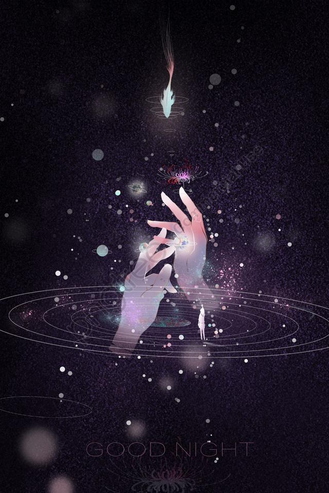 별이 빛나는 하늘 손 물고기 손으로 그린, 삽화, 아물다, 아름다운 llustration image