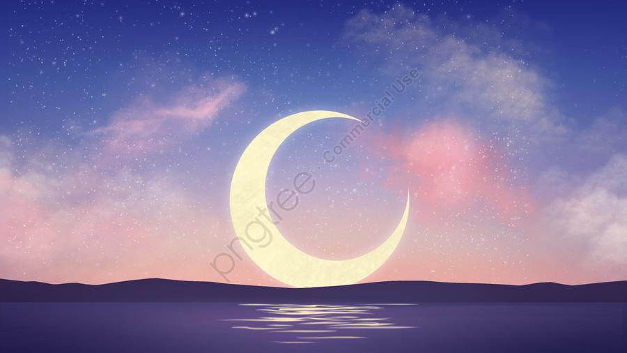 Céu Estrelado Lua Crepúsculo Azul, Illustrator, Céu Estrelado, Lua llustration image