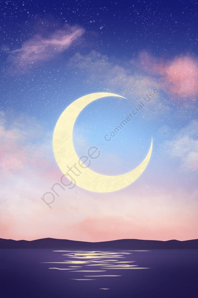 starry sky moon powder blue dusk, Illustrator, Starry Sky, Moon llustration image