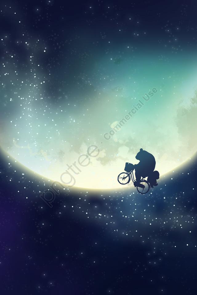 滿天星斗的天空月亮天空熊貓, 藝員, 手繪, 星空 llustration image