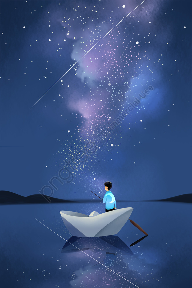 starry sky night night view sky, Star, Galaxy, Boat llustration image