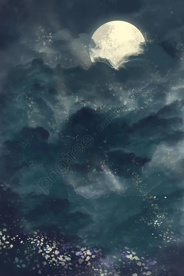 starry sky starlight moonlight moon, 星空, スターライト, 月光 llustration image