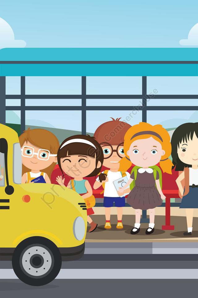 начальная школа средняя школа школьный сезон идти в школу, школьный автобус, поприветствуй, новый ученик llustration image