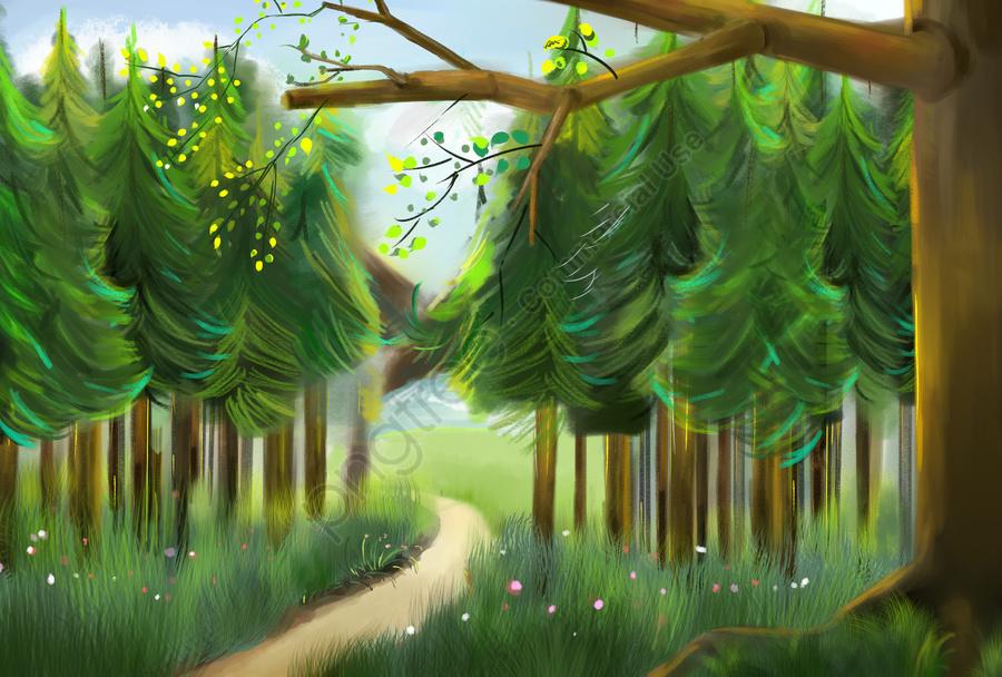 étape Sur La Forêt Fond Vert Feuilles Vertes, Le Printemps, La Stratification, élément De Printemps llustration image