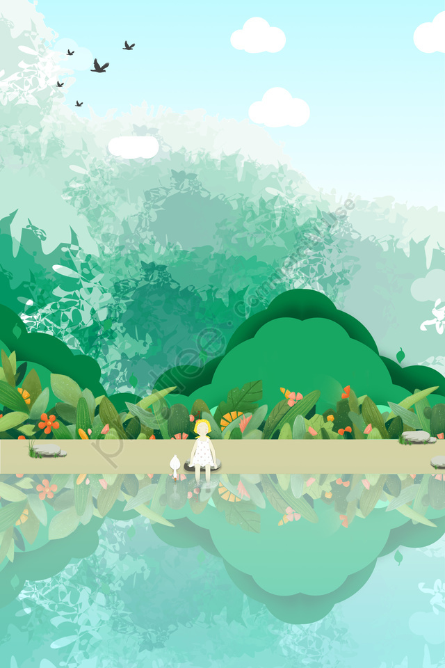 stone little girl duck grass, Forest, White Clouds, Blue Sky llustration image