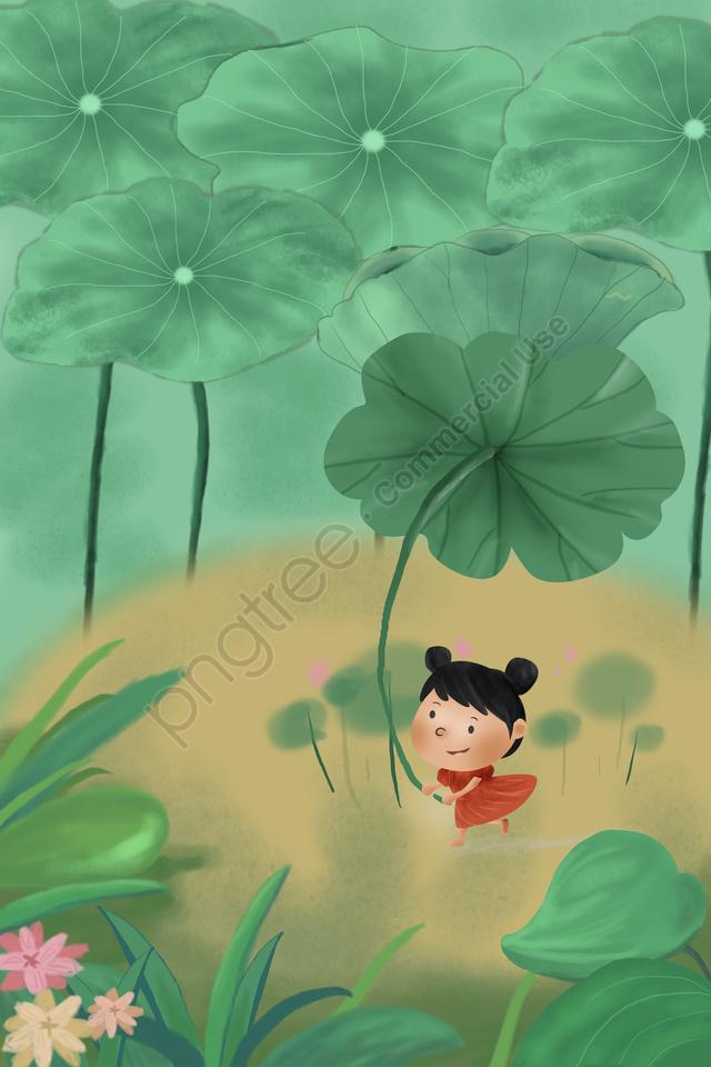 Summer A Cool Summer Little Girl Lotus Leaf, Travel, Say Away, Summer Sunrise llustration image