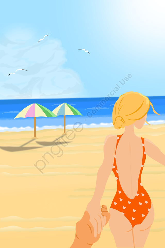summer beach sexy swimsuit beauty, Summer, Back View, Swimsuit llustration image