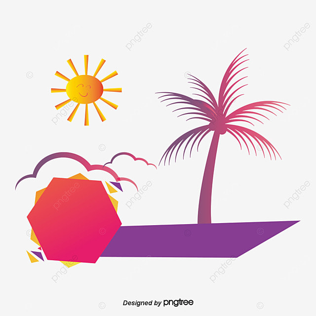 summer beach shore coconut tree, Waterside Plants, Sea, Lifebuoy llustration image