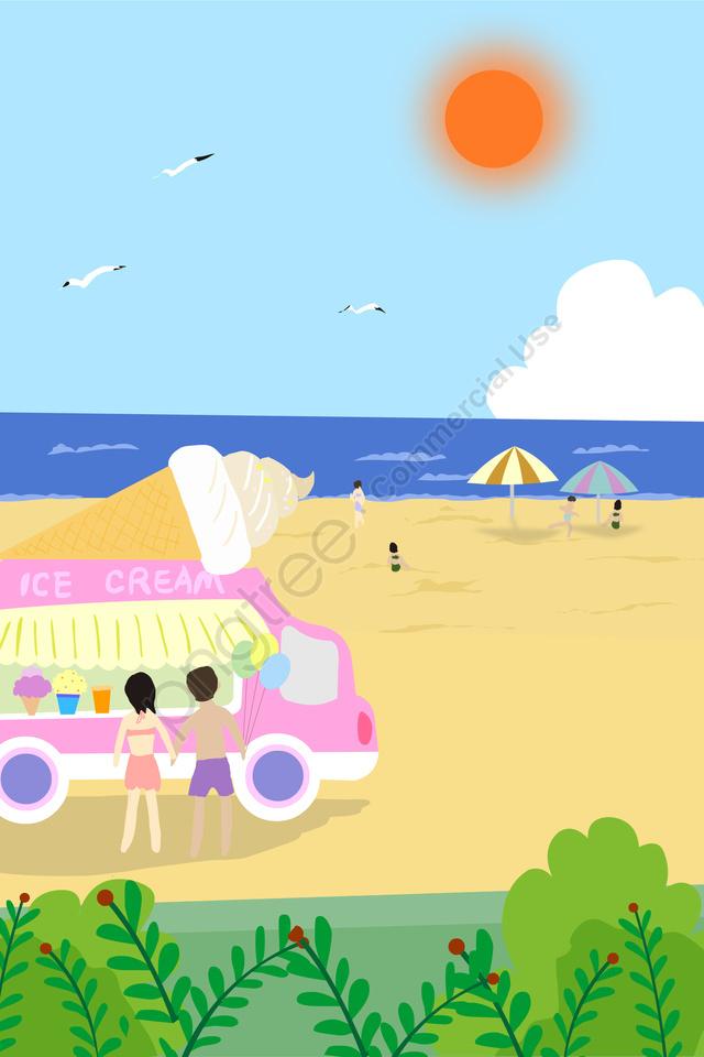 Summer Beach Sweet Ice Cream Truck, Beach, Joy, Enthusiasm llustration image