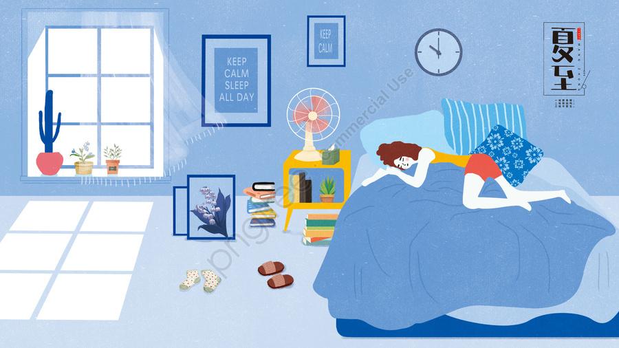 गर्मियों की किताब लड़की बिस्तर, बिस्तर पर जाने के लिए, बिजली का पंखा, खिड़की llustration image