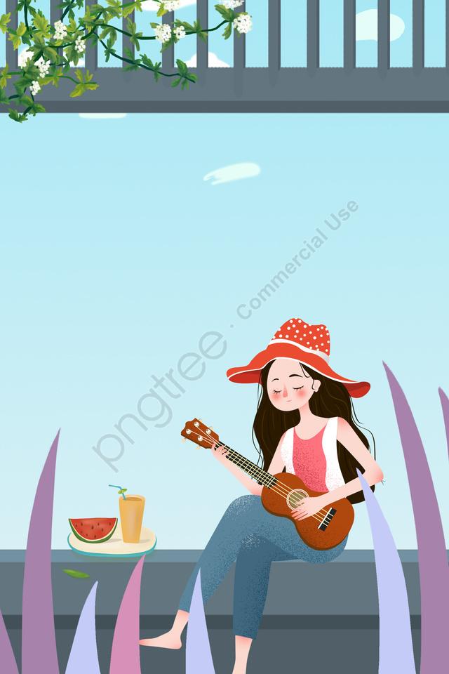 夏の女の子夏の冷たい飲み物旅行, 屋外の, 言う, 小熱 llustration image
