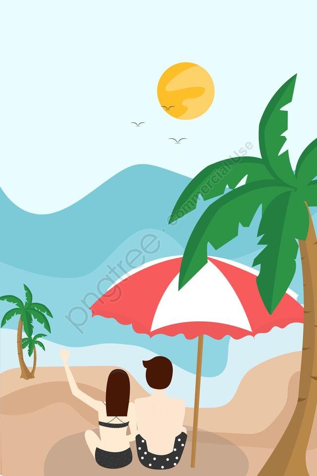 夏天炎熱的一天畢業旅行度假, 玩, 比基尼美女, 男朋友 llustration image
