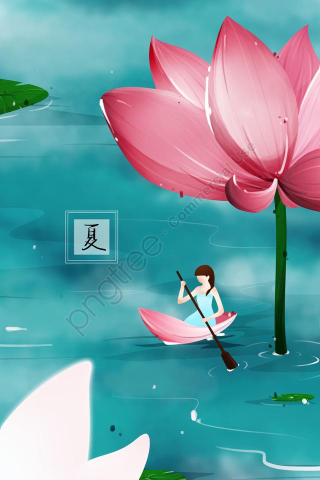 Summer Lotus Lotus Leaf Pond, Boating, Rafting, Petal Boat llustration image