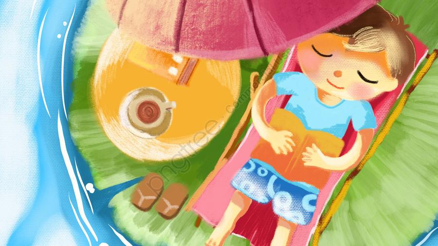 한여름 연꽃 풀, 레저, 읽다, 차 llustration image
