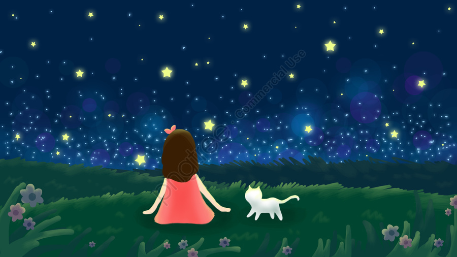 summer midsummer night starry sky girl, White Cat, Grassland, Hand Painted llustration image