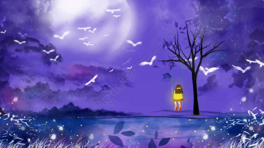 summer night beautiful midsummer dream, Hand Painted, Starry Sky, Healing llustration image