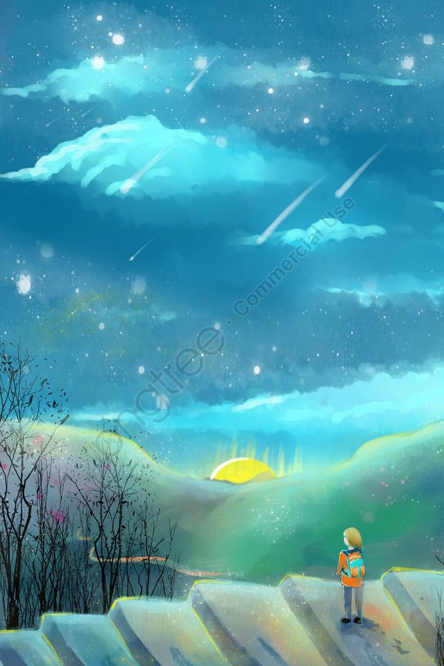Noite De Verão Céu Estrelado Bela Pintados à Mão, Cartoon, Literária, Sistema De Auto Cura llustration image