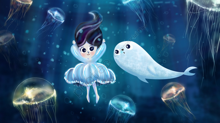 summer ocean sea girl, Seal, Jellyfish, Hand Painted llustration image