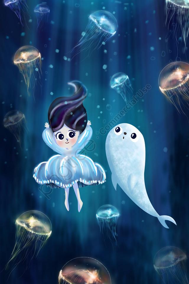 summer ocean sea girl, Seal, Jellyfish, Hand Painted llustration image