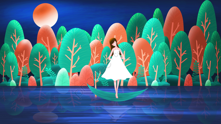Summer Playing By The Lake Teenage Girl Forest, Fresh, Cartoon, Girl llustration image
