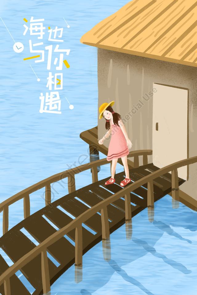 夏天海景房海水海, 小橋, 女孩, 手繪 llustration image
