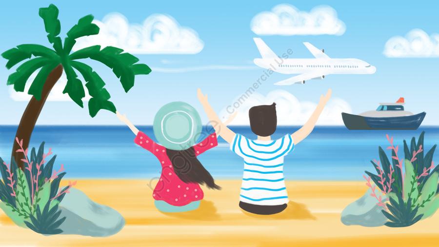 夏の海辺の観光ココナッツの木, 空, 海, ビーチ llustration image