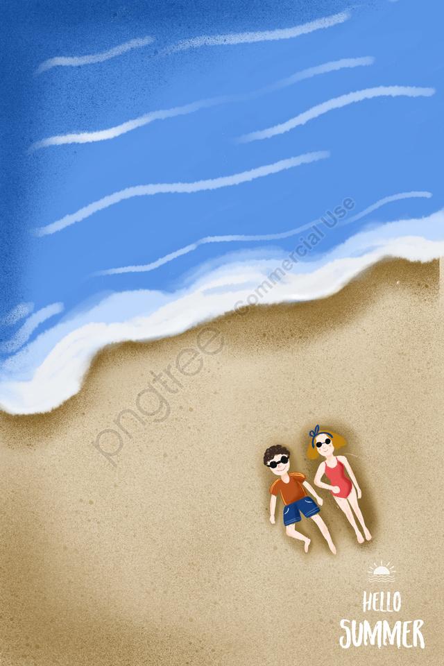 गर्मियों के समुद्र तट छुट्टी समुद्र तट, जोड़ा, स्विमसूट, सूरज की रोशनी llustration image
