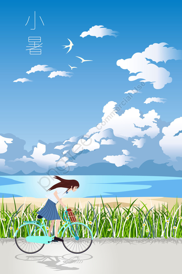 夏の小さな熱夏の風景, イラスト, グラス, クラウド llustration image