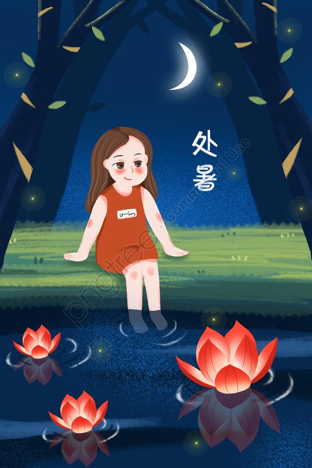 Summer Solar Terms Summer River Light, River Light, Little Girl, Lotus Light llustration image