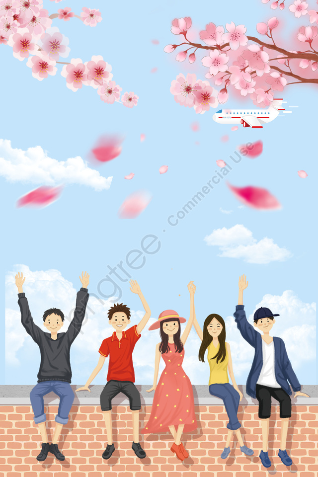 summer summer classmate travel, Travel Background, Flower, Cherry Blossoms llustration image