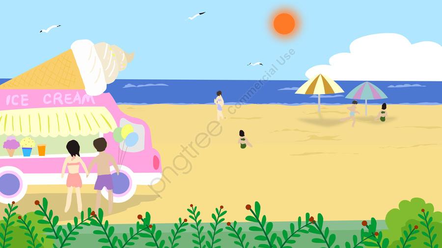 summer summer ice cream truck ice cream, Balloon, Beach, Swimsuit llustration image