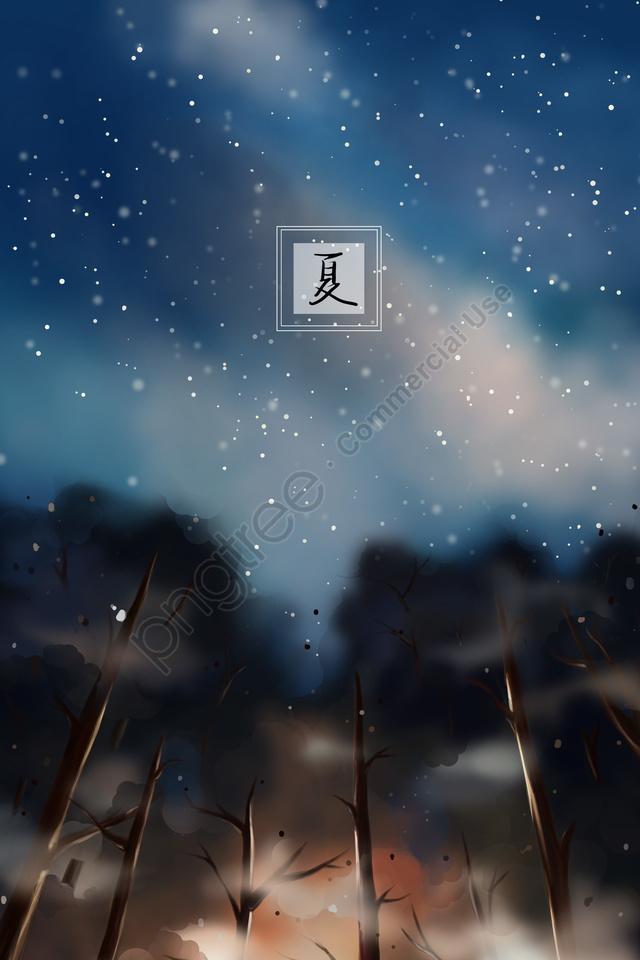Musim Panas Musim Panas Malam Hutan Langit Berbintang, Cawangan, Pohon Bayang Bayang, Profil llustration image