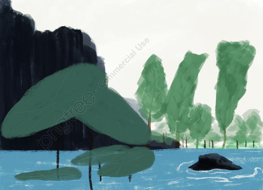 夏夏夏蓮の葉, 山, 森, 水の流れ llustration image