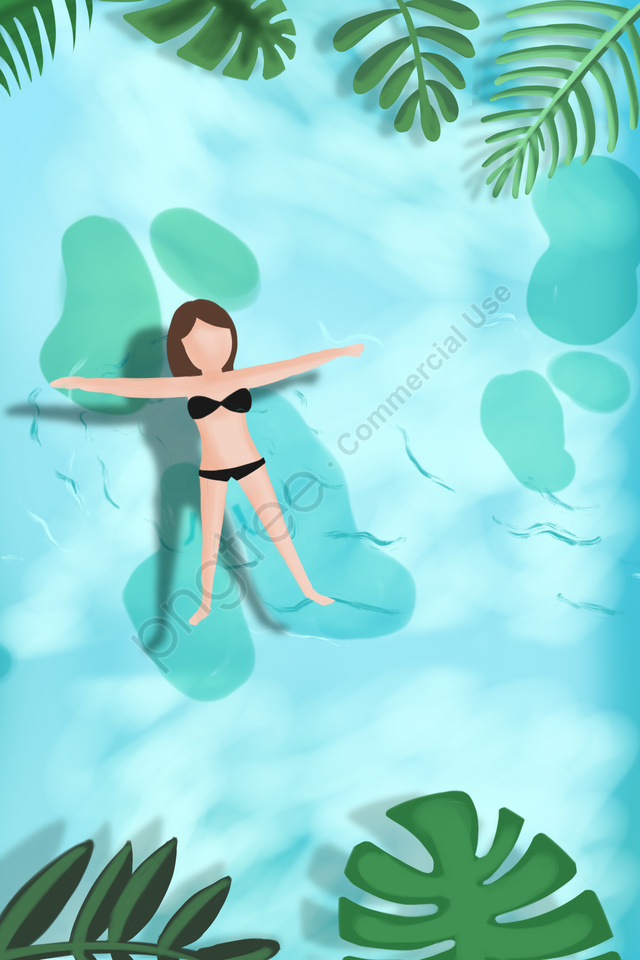 夏天游泳離開涼爽, 藍色, 綠色, 浮動 llustration image