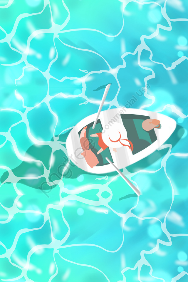 Summer Swim Leaves Cool, Blue, Green, Boating llustration image