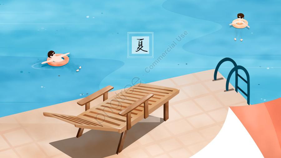 夏プール救命浮輪水泳, 水面, 残り, ビーチチェア llustration image