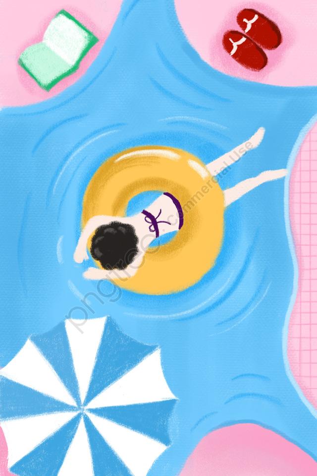 夏のスイミングプール, 水中で遊ぶ, クール, イラスト llustration image