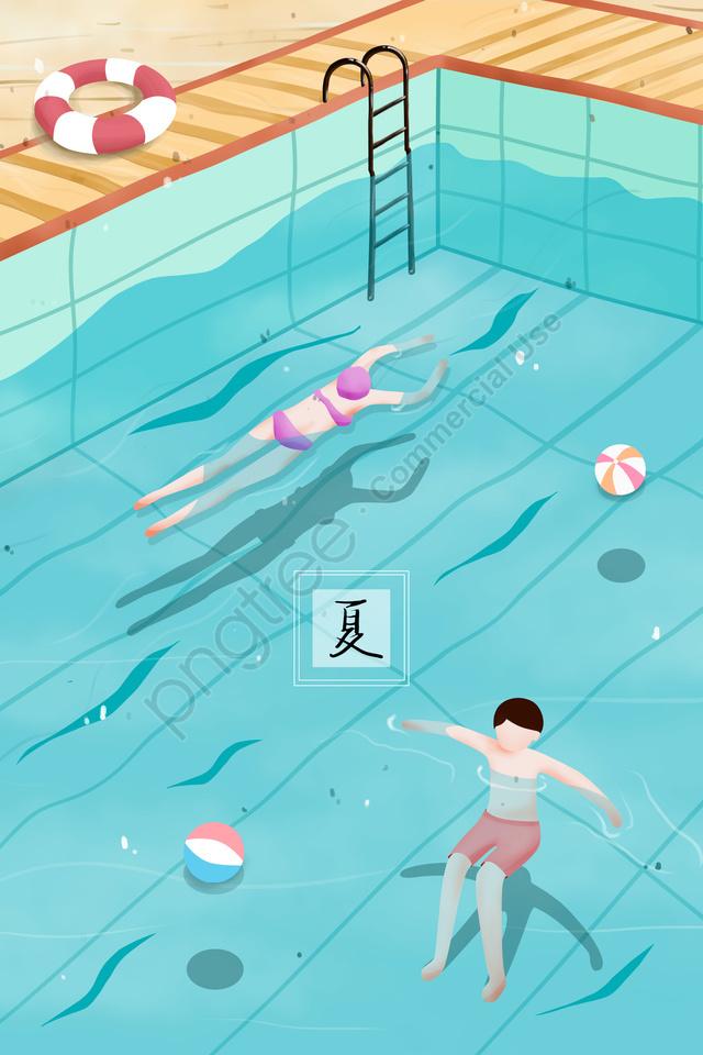 summer swimming pool swimming ring swimming ball, 夏, プール, 水泳リング llustration image