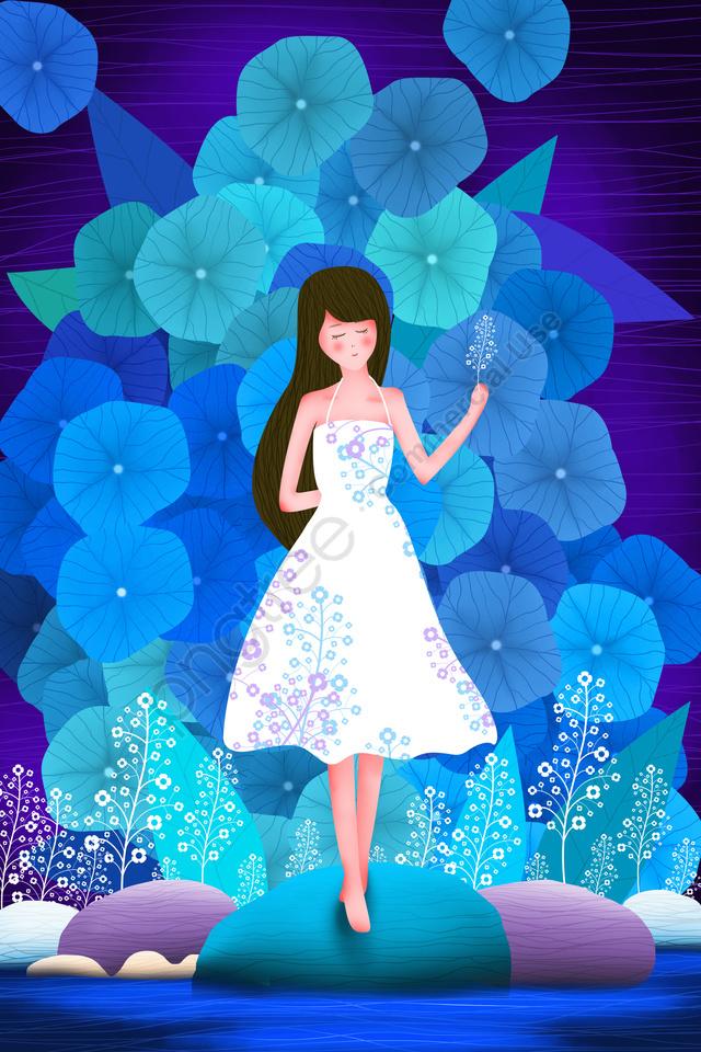 गर्मियों में किशोर लड़की का पत्ता ताजा, कार्टून, लड़की, सुंदर llustration image