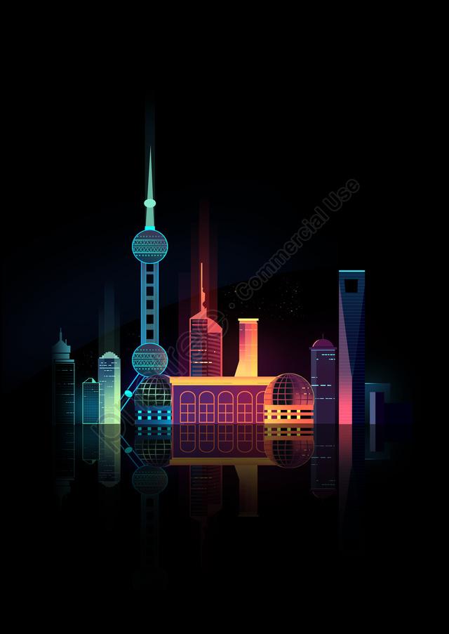 Kỳ Nghỉ Hè Du Lịch Thành Phố Thượng Hải, Khung Cảnh, Hoạt Hình., Phong Cảnh llustration image